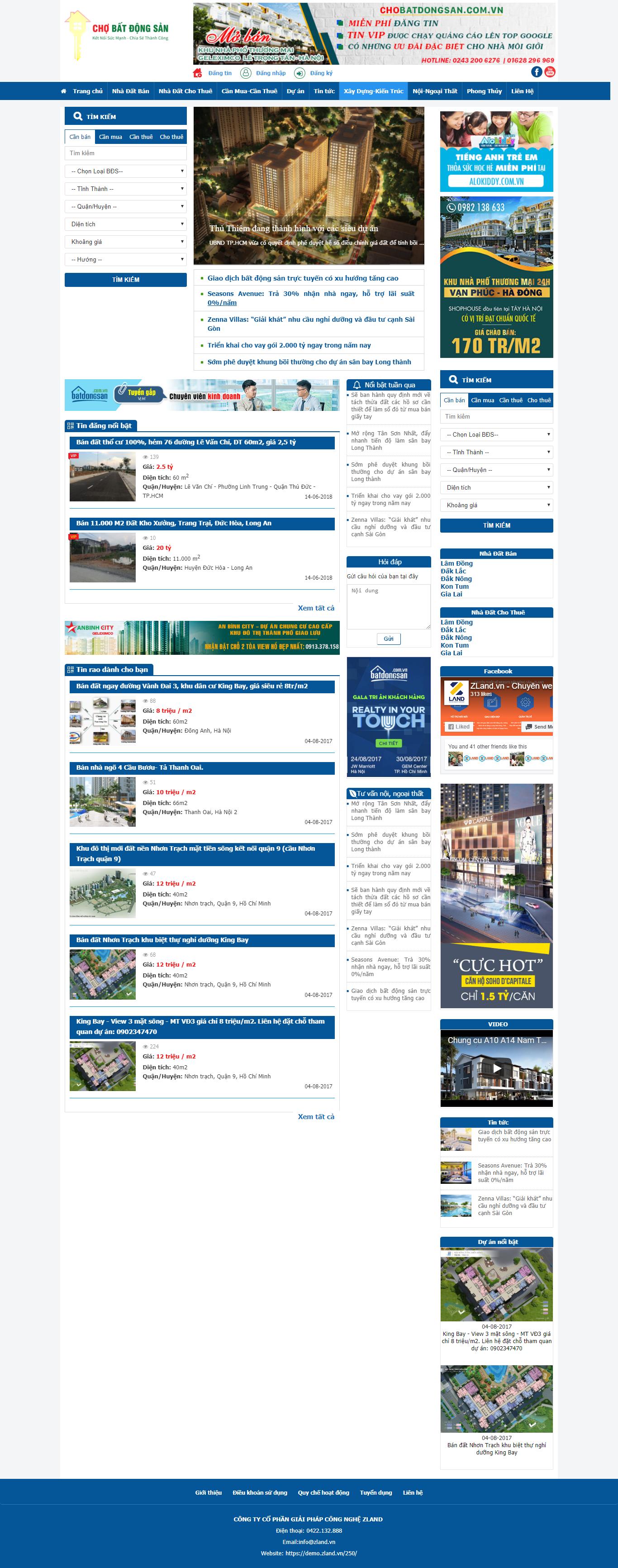 Giao diện website Bất động sản Z - 250