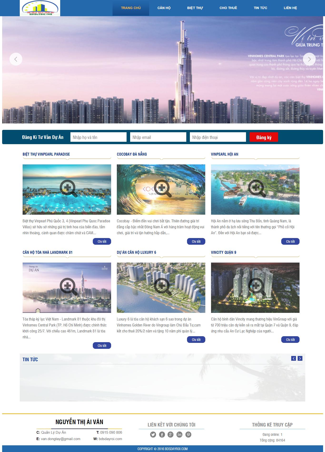 Giao diện website Bất động sản Z - 208