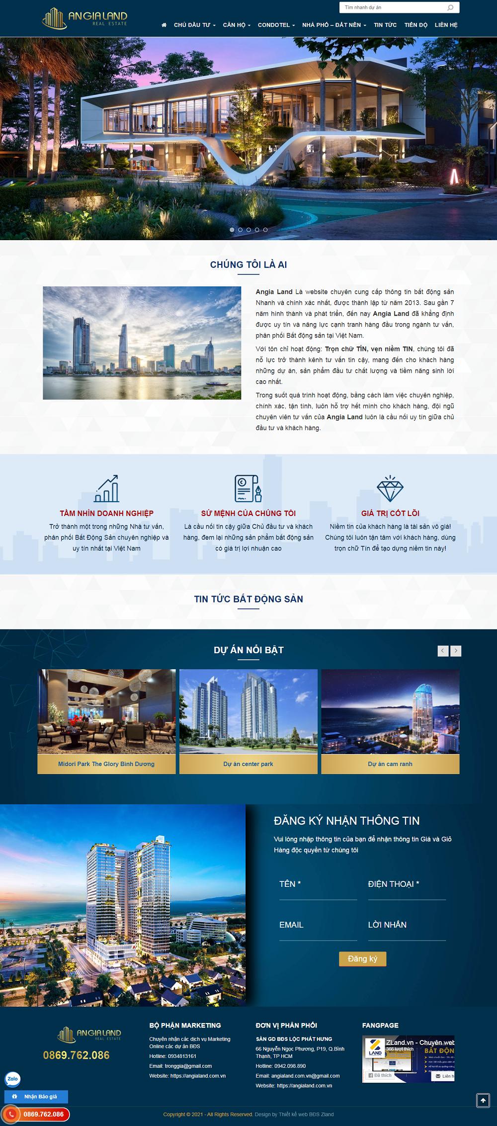 Giao diện website BĐS z529